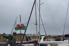 English crews flying the Welsh flag in Cardiff :)
